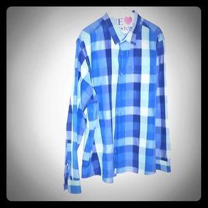 Eddie Bauer's Blue plaid down collar XL men shirt